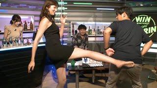 罰ゲームのはずが松嶋えいみ嬢のご褒美キックに感涙するアルコ&ピースの酒井