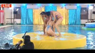 【生放送ハプニング】神谷えりな水着相撲でお尻食い込みすぎィ!w アイドルセクシー水泳大会