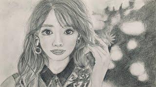 鉛筆で泉里香さん描いてみた