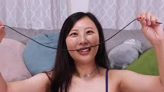 グラビアアイドルが舌技に挑戦!紐をベロだけで結んでみます!川島愛里沙【 舌技チャレンジ 舌技 えちえち 】